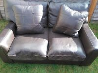 3 seat sofa +2 seat sofa lether ,dark brown
