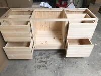 Solid Pine Oven Housing with 4 Pan Drawers