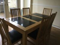 Oak and marble dining table and 6 chairs