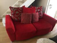 DFS red sofa set (x2 sofas) including footstool.