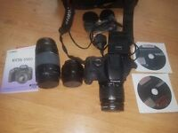 Cannon EOS 550d SLR Camera including 3 lenses, bag and extras. Perfect condition.
