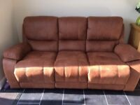 3 Seater Sofa with 2 manual recliners - Roma fabric - Saddle Brown