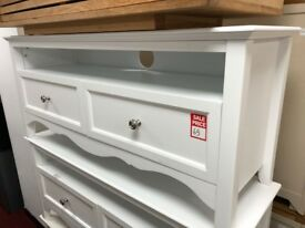 2 drawer white TV unit - metal handles