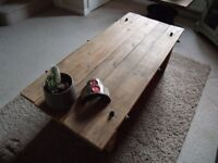 Lovely, Unique Reclaimed Solid Wood Coffee Table and Steel Fixings. Industrial, Upcycling. £50 ONO