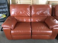 Brown leather Reclining suite Leather sofa and chairs
