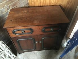 wooden walnut cabinet - music Hifi - vintage retro