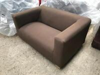 Brown Fabric Settee