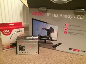 "Logik 19"" LED freeview HD ready television, wall bracket, and aerial"