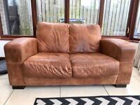 DFS Tan Nubuck Leather Sofa