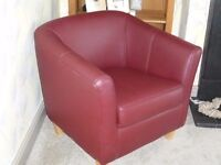 Tub bucket leather chair deep red colour excellent condition