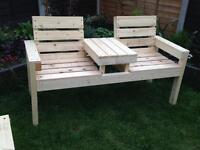2 seater adult bench with mini table