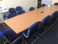 12 x Seater Conference Desk Beech with Chairs