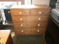 LARGE VICTORIAN PINE CHEST OF DRAWERS ON TURNED LEGS WITH CERAMIC HANDLES IN YEOVIL