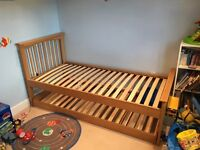 Solid Oak single bed and trundle bed