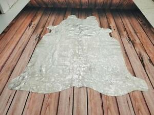 silver cowhide rug metallic on white imported from Brazil, free shipping, 78 X 69 Inches