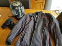 Ladies motorbike jacket, helmet and gloves for sale