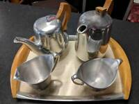 Piquot ware retro tea pot, coffee cream and sugar bowl