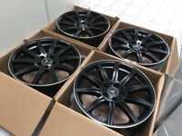 "4 x NEW 19"" MERCEDES BLACK C63 STAGGERED ALLOY WHEELS 5x112 5 112 MERCEDES W203 W204 C CLASS"