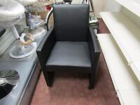set of two black lather office chairs