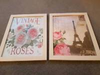 Pair of photos in white wooden frame