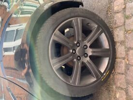 Jaguar 18 inch wheels x4 with 3 new part worn tyres and one brand new tyre