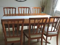 Extendable Yew dining table & 6 chairs and sideboard