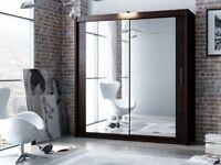 CHEAP PRICE- BRAND New Berlin 2 OR 3 Door Full Mirror Sliding Wardrobe w shelves and rails