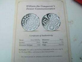 WILLIAM THE CONQUERER SOLID SILVER COIN PLUS THE BATTLE OF HASTINGS BOTH FROM THE ROYAL MINT