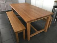 Beautiful Oak Kitchen Table and bench seats