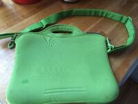 "BUILT 13"" laptop carry case in green neoprene with shoulder strap"