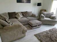 Corner Sofa with separate armchair & foot stool