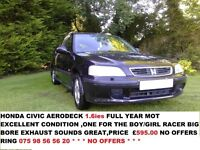 CIVIC AERODECK 1.6 i ES FULL YEAR MOT 100 pound trade-in allowance for any car