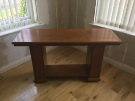 Solid wood extending dining table, 6 chairs & matching console table