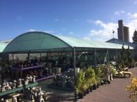 Two Bay Garden Centre Hooped Canopy Arbour Domed Tent Structure 24m x 7m each