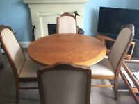 Parker Knoll Extending Dining Room Teak Table & Four Matching Chairs See desc for size