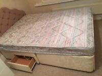 Divan double bed with 3 drawers and free matching cushioned headboard