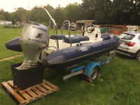 5.4m rib boat and roller coaster trailer