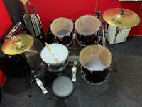 Performance percussion drum kit with Sabian cymbals, stands, stool and sticks