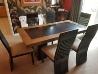 6 x seater marble dining table and chairs