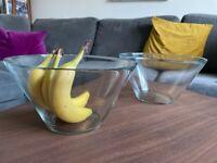 Glass sharing bowls x 2 - V shaped