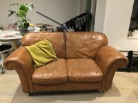 Laura Ashley Brown Leather Sofa 2 Seater Very Good Condition