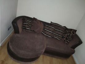 3 Seater Brown Sofa with Foot Rest: Approx 210x145cm(to foot rest)