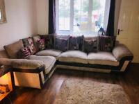 Large scs corner sofa and chair grey/cream/multi scatter back