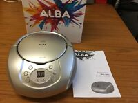Brand new ALBA Portable CD Player/Radio in Silver still in box only £18