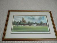 Terry Harrison Signed & Framed Cricket Print Worcester