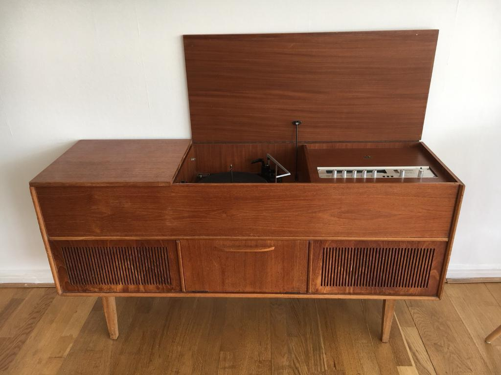 Vintage Dynatron Garrard Gramophone Récord Player Turntable Furniture