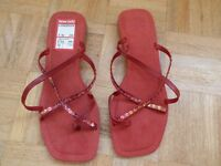 Clarks Womens red leather sandals size 7 D