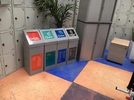 4 x Steel Office Recycling Bins/Recycling Station/Recycling Bins/Flip Shut Lids