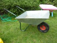 Galvanised wheelbarrow.