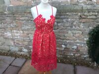 Red Floral lace Overlay Midi dress size M 10-12 Shopaholic ideal for Christmas party